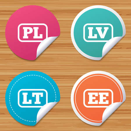bended: Round stickers or website banners. Language icons. PL, LV, LT and EE translation symbols. Poland, Latvia, Lithuania and Estonia languages. Circle badges with bended corner. Vector Illustration