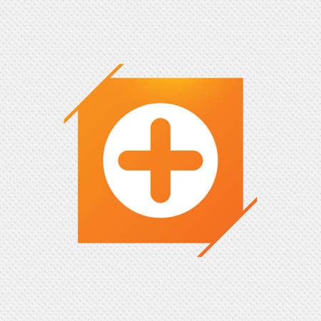 Signe plus icône. symbole positif. Zoom. Étiquette carrée orange sur le motif. Vecteur