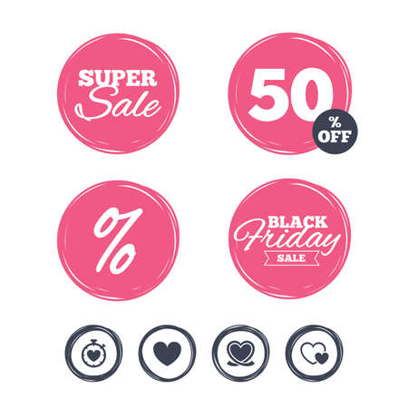 palpitation: Super sale and black friday stickers. Heart ribbon icon. Timer stopwatch symbol. Love and Heartbeat palpitation signs. Shopping labels. Vector Illustration