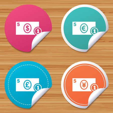 withdrawals: Round stickers or website banners. Businessman case icons. Dollar, yen, euro and pound currency sign symbols. Circle badges with bended corner. Vector