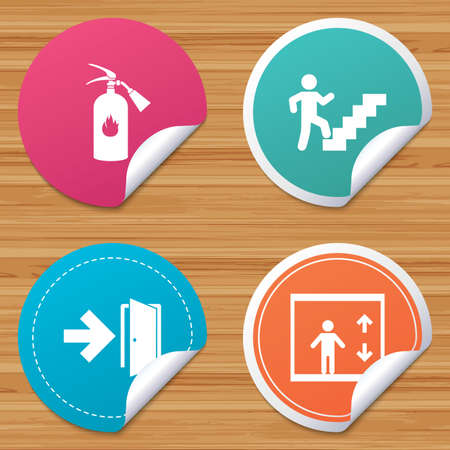 Round stickers or website banners. Emergency exit icons. Fire extinguisher sign. Elevator or lift symbol. Fire exit through the stairwell. Circle badges with bended corner. Vector