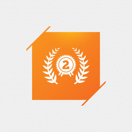 Second place award sign icon. Prize for winner symbol. Laurel Wreath. Orange square label on pattern. Vector