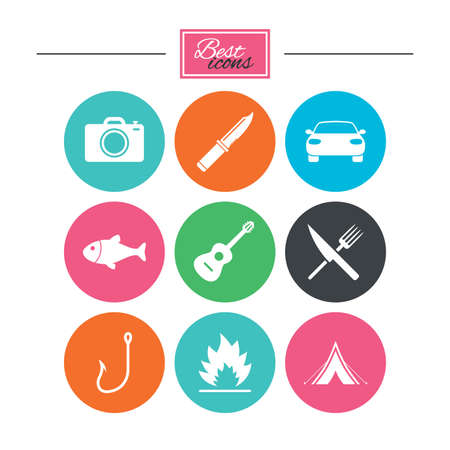 Camping travel icons. Fishing, campfire and tourist tent signs. Guitar music, fork and knife symbols. Colorful flat buttons with icons. Vector Illustration
