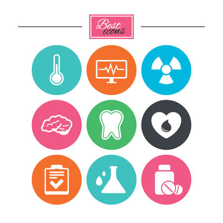 neurology: Medicine, medical health and diagnosis icons. Blood donate, thermometer and pills signs. Tooth, neurology symbols. Colorful flat buttons with icons. Vector