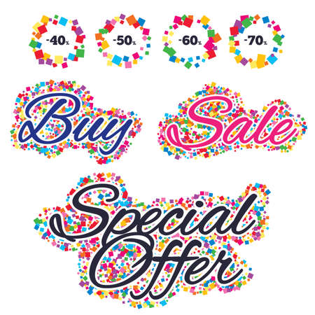 Sale confetti labels and banners. Sale discount icons. Special offer price signs. 40, 50, 60 and 70 percent off reduction symbols. Special offer sticker. Vector