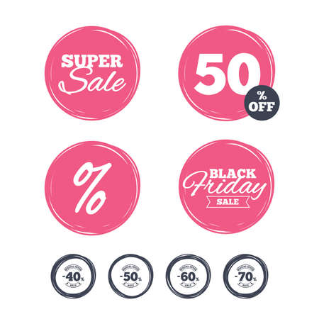 Super sale and black friday stickers. Sale discount icons. Special offer stamp price signs. 40, 50, 60 and 70 percent off reduction symbols. Shopping labels. Vector