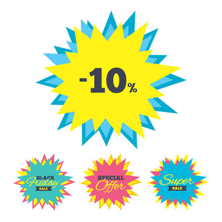 Sale stickers and banners. 10 percent discount sign icon. Sale symbol. Special offer label. Star labels. Vector
