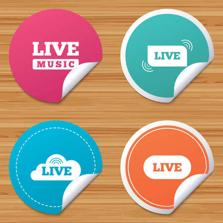 live stream music: Round stickers or website banners. Live music icons. Karaoke or On air stream symbols. Cloud sign. Circle badges with bended corner. Vector