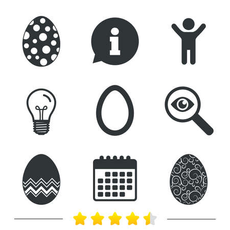 pasch: Easter eggs icons. Circles and floral patterns symbols. Tradition Pasch signs. Information, light bulb and calendar icons. Investigate magnifier. Vector