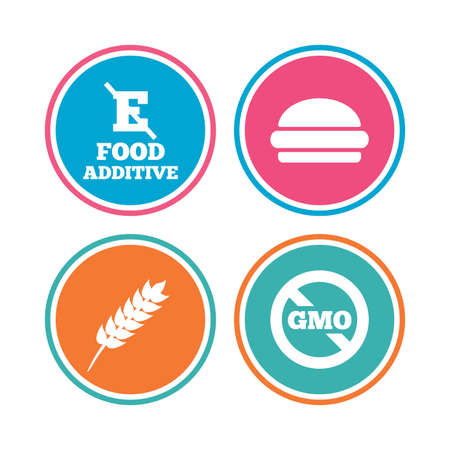 stabilizers: Food additive icon. Hamburger fast food sign. Gluten free and No GMO symbols. Without E acid stabilizers. Colored circle buttons. Vector