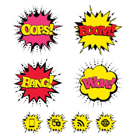 qa: Comic Boom, Wow, Oops sound effects. Question answer icon.  Smartphone and Q&A chat speech bubble symbols. RSS feed and internet globe signs. Communication Speech bubbles in pop art. Vector