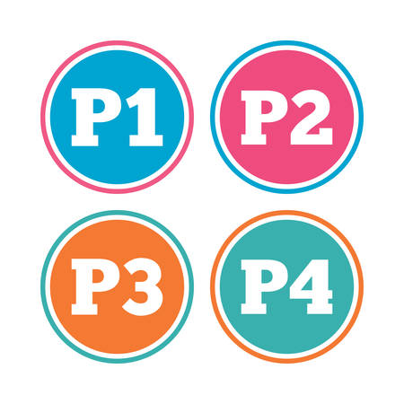 second floor: Car parking icons. First, second, third and four floor signs. P1, P2, P3 and P4 symbols. Colored circle buttons. Vector