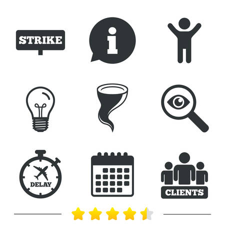 bad weather: Strike icon. Storm bad weather and group of people signs. Delayed flight symbol. Information, light bulb and calendar icons. Investigate magnifier. Vector
