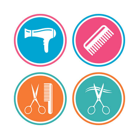 comb hair: Hairdresser icons. Scissors cut hair symbol. Comb hair with hairdryer sign. Colored circle buttons. Vector Illustration