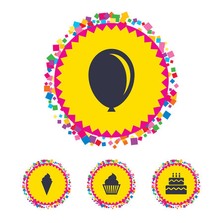 Web buttons with confetti pieces. Birthday party icons. Cake with ice cream signs. Air balloon symbol. Bright stylish design. Vector