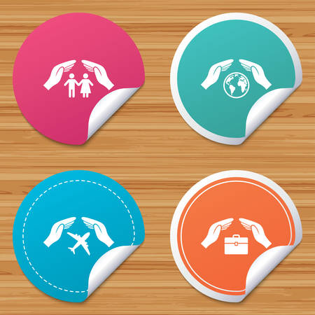 bended: Round stickers or website banners. Hands insurance icons. Human life insurance symbols. Travel flight baggage symbol. World globe sign. Circle badges with bended corner. Vector