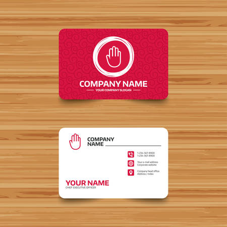 give me five: Business card template with texture. Hand sign icon. No Entry or stop symbol. Give me five. Phone, web and location icons. Visiting card  Vector
