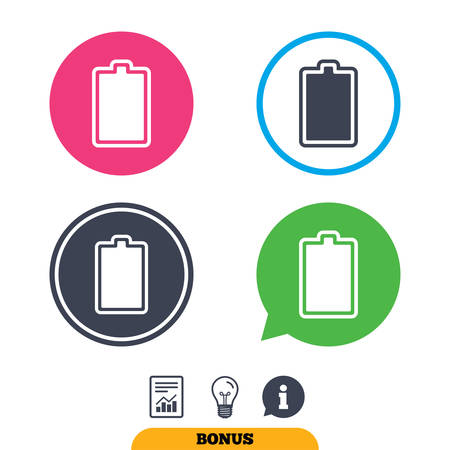 fully: Battery fully charged sign icon. Electricity symbol. Report document, information sign and light bulb icons. Vector Illustration