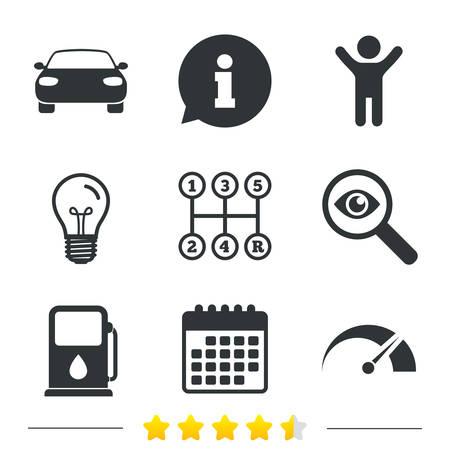 light transmission: Transport icons. Car tachometer and manual transmission symbols. Petrol or Gas station sign. Information, light bulb and calendar icons. Investigate magnifier. Vector Illustration