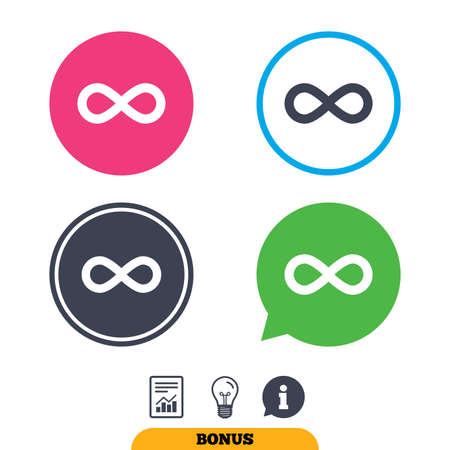 eternally: Limitless sign icon. Infinity symbol. Report document, information sign and light bulb icons. Vector Illustration