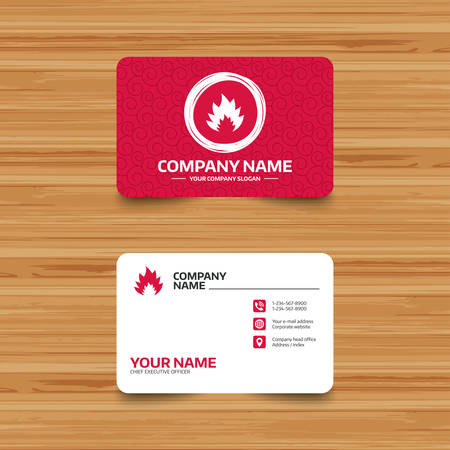card stop: Business card template with texture. Fire flame sign icon. Heat symbol. Stop fire. Escape from fire. Phone, web and location icons. Visiting card  Vector