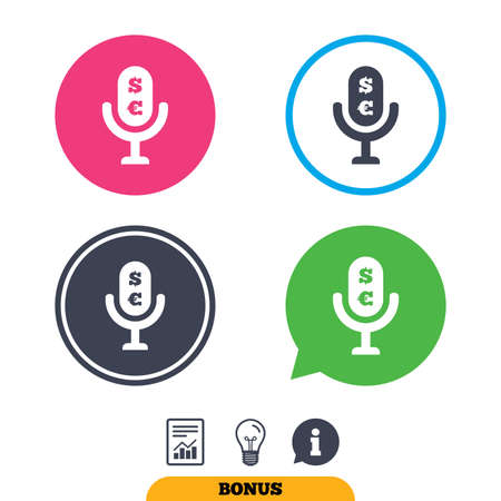 Microphone icon. Speaker symbol. Paid music sign. Report document, information sign and light bulb icons. Vector Illustration