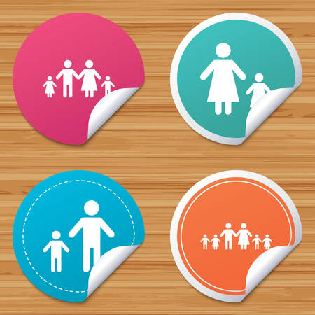 bended: Round stickers or website banners. Large family with children icon. Parents and kids symbols. One-parent family signs. Mother and father divorce. Circle badges with bended corner. Vector