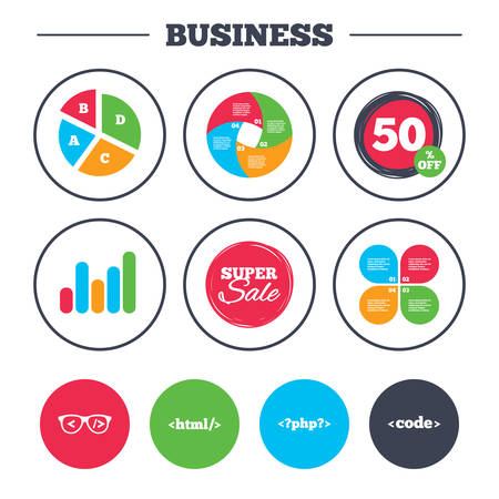 hypertext: Business pie chart. Growth graph. Programmer coder glasses icon. HTML markup language and PHP programming language sign symbols. Super sale and discount buttons. Vector