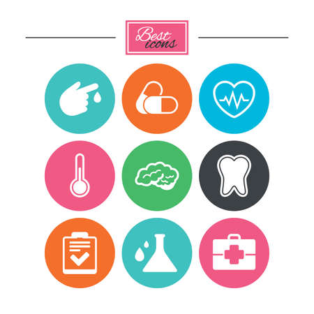 neurology: Medicine, healthcare and diagnosis icons. Tooth, pills and doctor case signs. Neurology, blood test symbols. Colorful flat buttons with icons. Vector Illustration