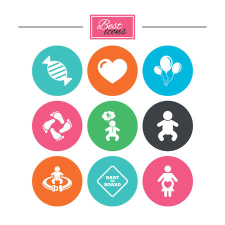 Pregnancy, maternity and baby care icons. Candy, strollers and fasten seat belt signs. Footprint, love and balloon symbols. Colorful flat buttons with icons. Vector