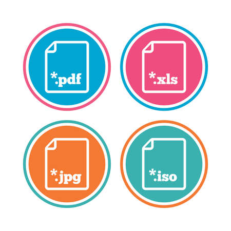 Download document icons. File extensions symbols. PDF, XLS, JPG and ISO virtual drive signs. Colored circle buttons. Vector Illustration