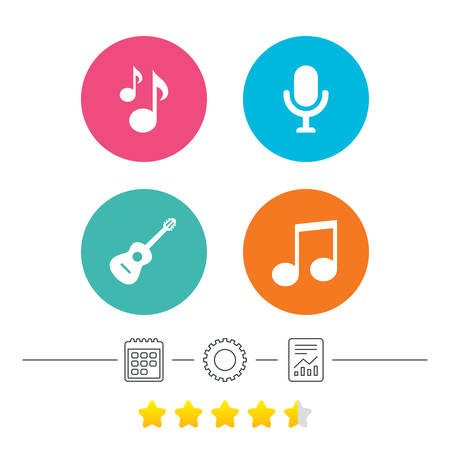 Music icons. Microphone karaoke symbol. Music notes and acoustic guitar signs. Calendar, cogwheel and report linear icons. Star vote ranking. Vector Illustration