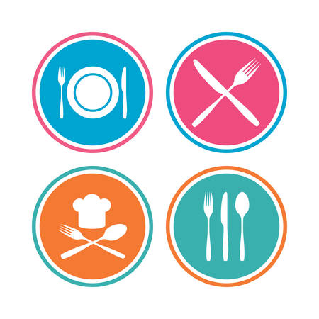 Plate dish with forks and knifes icons. Chief hat sign. Crosswise cutlery symbol. Dining etiquette. Colored circle buttons. Vector