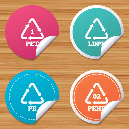 bended: Round stickers or website banners. PET, Ld-pe and Hd-pe icons. High-density Polyethylene terephthalate sign. Recycling symbol. Circle badges with bended corner. Vector