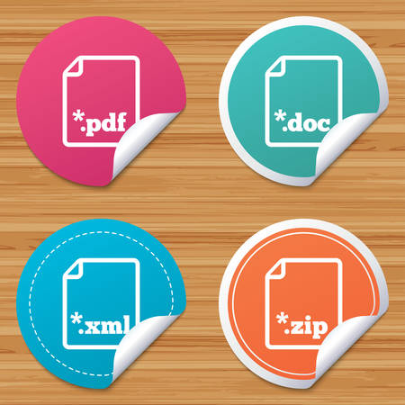 Round stickers or website banners. Download document icons. File extensions symbols. PDF, ZIP zipped, XML and DOC signs. Circle badges with bended corner. Vector Illustration