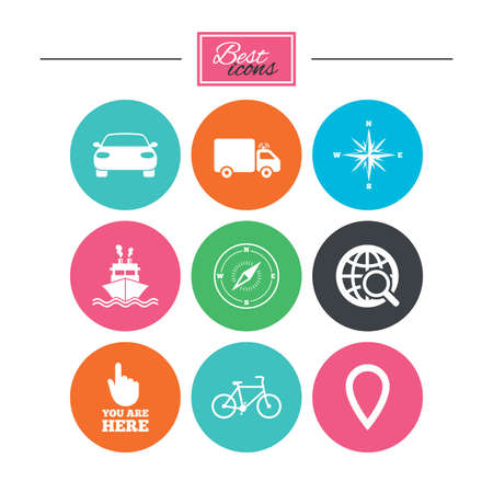 Navigation, gps icons. Windrose, compass and map pointer signs. Bicycle, ship and car symbols. Colorful flat buttons with icons. Vector