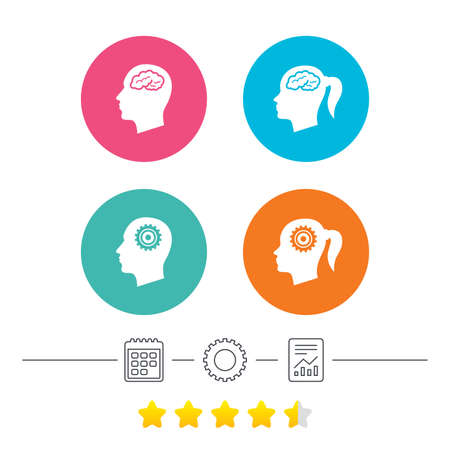 Head with brain icon. Male and female human think symbols. Cogwheel gears signs. Woman with pigtail. Calendar, cogwheel and report linear icons. Star vote ranking. Vector