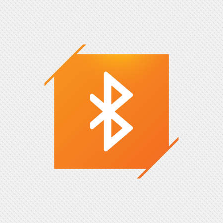 Bluetooth sign icon. Mobile network symbol. Data transfer. Orange square label on pattern. Vector