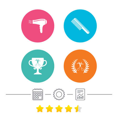 Hairdresser icons. Scissors cut hair symbol. Comb hair with hairdryer symbol. Barbershop laurel wreath winner award. Calendar, cogwheel and report linear icons. Star vote ranking. Vector