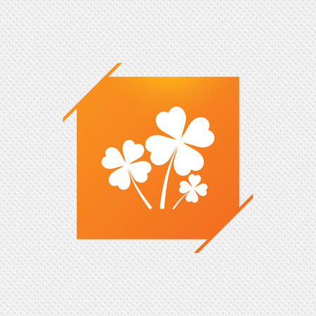 clover buttons: Clovers with four leaves sign icon. Saint Patrick symbol. Orange square label on pattern. Vector Illustration