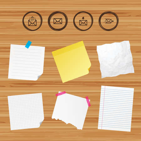 outbox: Business paper banners with notes. Mail envelope icons. Message document delivery symbol. Post office letter signs. Inbox and outbox message icons. Sticky colorful tape. Vector