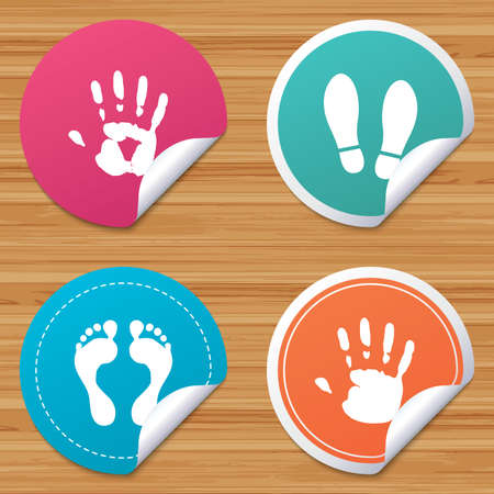 do not enter: Round stickers or website banners. Hand and foot print icons. Imprint shoes and barefoot symbols. Stop do not enter sign. Circle badges with bended corner. Vector Illustration
