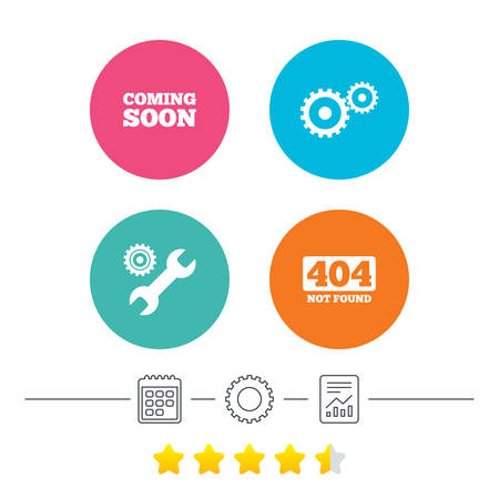 file not found: Coming soon icon. Repair service tool and gear symbols. Wrench sign. 404 Not found. Calendar, cogwheel and report linear icons. Star vote ranking. Vector