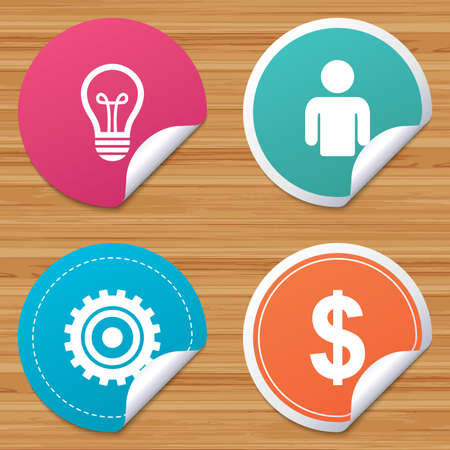 bended: Round stickers or website banners. Business icons. Human silhouette and lamp bulb idea signs. Dollar currency and gear symbols. Circle badges with bended corner. Vector