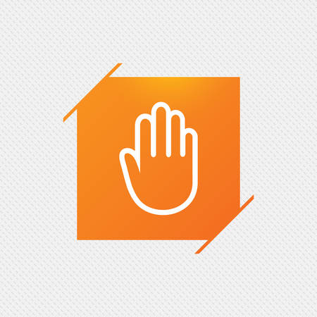 Hand sign icon. No Entry or stop symbol. Give me five. Orange square label on pattern. Vector Illustration