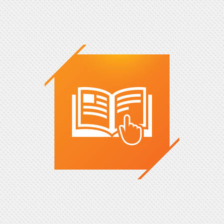 reading app: Instruction sign icon. Manual book symbol. Read before use. Orange square label on pattern. Vector