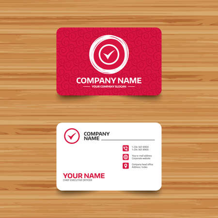 accepted: Business card template with texture. Check mark sign icon. Yes circle symbol. Confirm approved. Phone, web and location icons. Visiting card  Vector Illustration