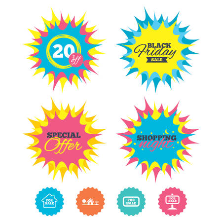 Shopping night, black friday stickers. For sale icons. Real estate selling signs. Home house symbol. Special offer. Vector