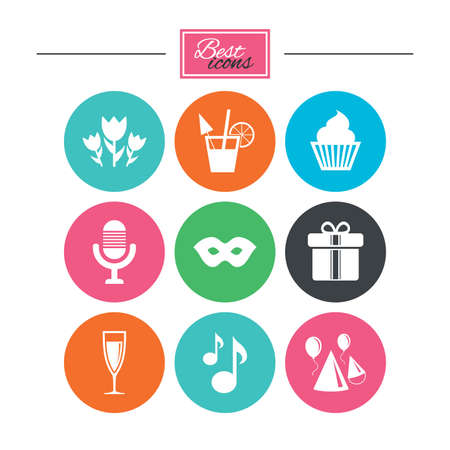 Party celebration, birthday icons. Cocktail, air balloon and champagne glass signs. Gift box, flowers and carnival symbols. Colorful flat buttons with icons. Vector
