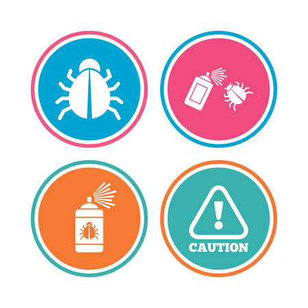 Bug disinfection icons. Caution attention symbol. Insect fumigation spray sign. Colored circle buttons. Vector Illustration